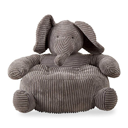 tag - Elephant Corduroy Plush Chair, Perfectly Designed for Your Child's Room or Nursery, Gray