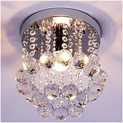 ZEEFO Crystal Chandeliers Light, Mini Style Modern Décor Flush Mount Fixture With Crystal Ceiling Lamp For Hallway, Bar, Kitchen, Dining Room, Kids Room (8 inch) ()