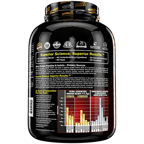 Amazon.com: MuscleTech NitroTech Whey Gold, 100% Whey Protein Powder, Whey Isolate and Whey Peptides, Vanilla, 1 Pound: Health & Personal Care