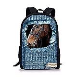 Best Coofit Books Kids - 3D Horse Print Backpack School Shoulder Book Bag Review