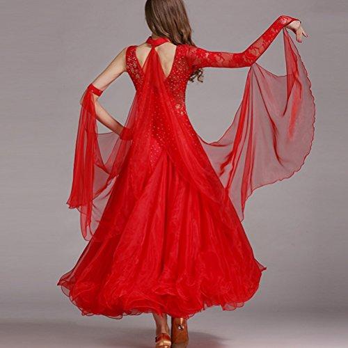 Gonna Estate Primavera Abiti Ballo Sala Donne Xxl l Grande Le Vestito Wqwlf Da Red Competizione Danza Prestazione Tuta Pizzo Valzer Cucitura Swing Moderna Per nSw4p4Uq