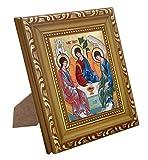 FengMicon Holy Trinity Icon Wood Frame Christian Catholic Icon