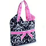 Quilted Damask Print 3Pc Diaper Bag w/ Ribbon Accents Pink Trim, Baby & Kids Zone