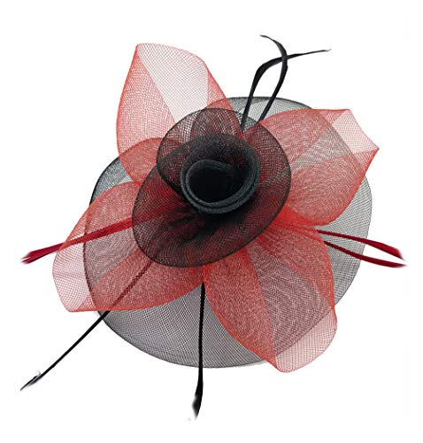 Kentucky Derby Fascinator Hair Clip Hat Feather Prom Cocktail Party Headwear (B Black red)