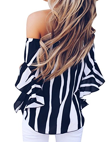 Womens Summer Sexy Off Shoulder Striped Short Sleeve T-Shirt Casual Knot Tie Chiffon Blouse Top (Black,M) by Defal (Image #4)'