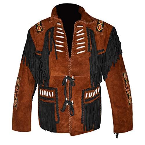 Indian Leather Jacket Western - MSHC Western Cowboy Men's Bone & Fringed Suede Leather Jacket D4 - Tan Brown V3 - Large