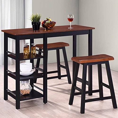s Tampa Series Dining 3-Piece Table Set Counter Height with Storage Shelves (Antique oak and black) (Antique Mahogany Dining Table)