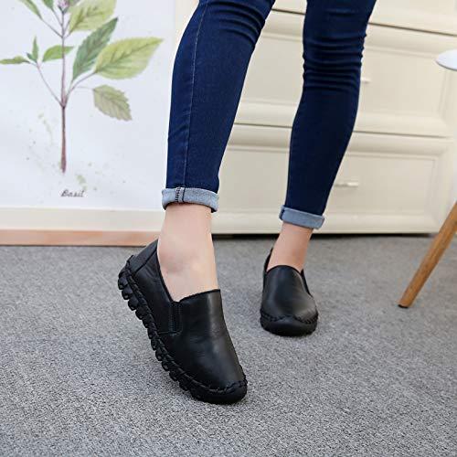 casual shoes Handmade cowhide sole fashion soft comfortable Black leather shoes FLYRCX flat platform gSa4wqx