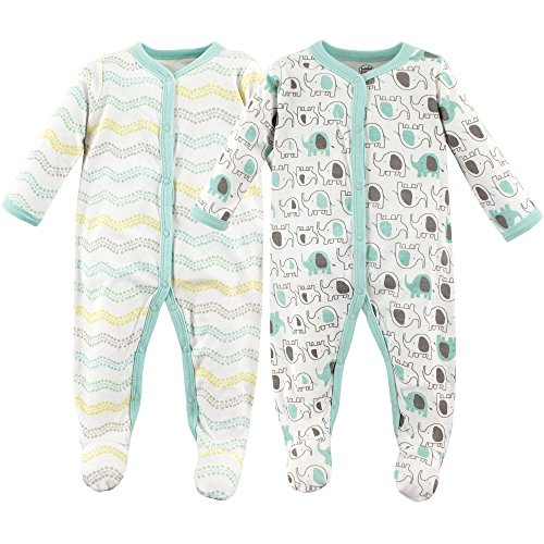 Luvable Friends Baby Cotton Snap Sleep and Play, Elephants, 0-3 Months