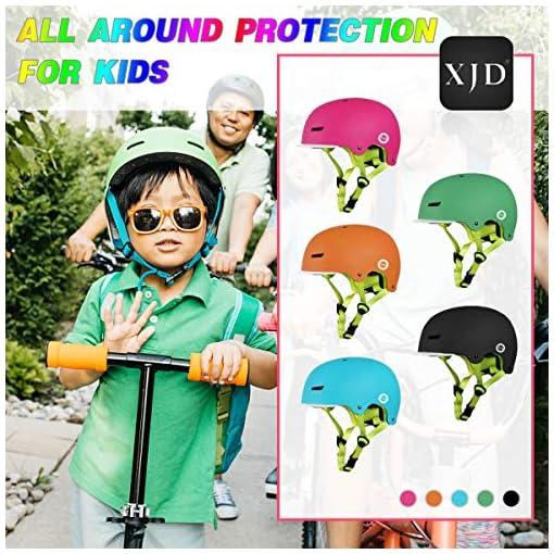 XJD Casque de Vélo pour Enfants Casque Réglable de Skateboard Anti-Choc Protection pour Cyclisme Rollers Skate Trottinette pour Filles Garçons 3-13 Ans Version 2,0