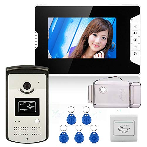 Color video portero telefónico sistema con 1 monitor 1 RFID HD doorbell 1000TVL cámara + cerradura electrónica de la...