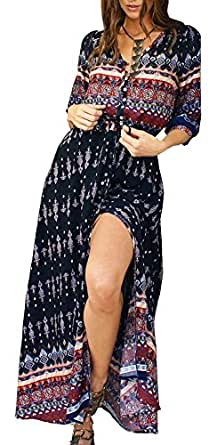 R.Vivimos Women Summer Button Up Floral Print Split Beach Maxi Dresses (Small, Black)
