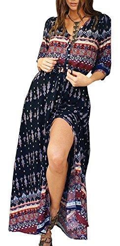 R.Vivimos Women's Summer Button Up Floral Print Split Beach Maxi Dresses Medium Black