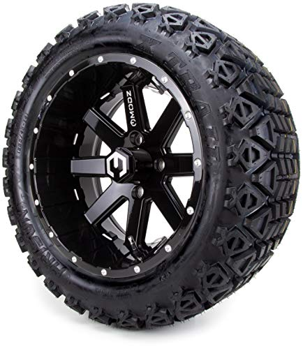 14″ MODZ Assault Black Ball Mill Golf Cart Wheels and All Terrain Tires Combo Set of 4