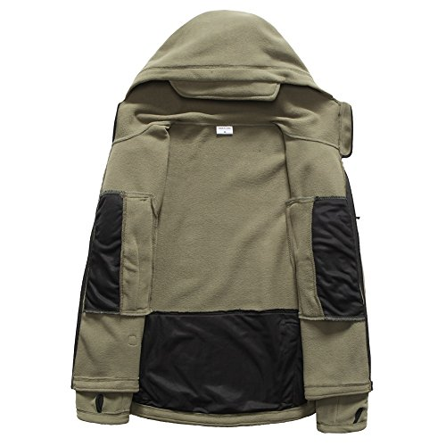 ReFire Gear Men's Warm Military Tactical Sport Fleece Hoodie Jacket, Army Green, X-Large by ReFire Gear (Image #5)