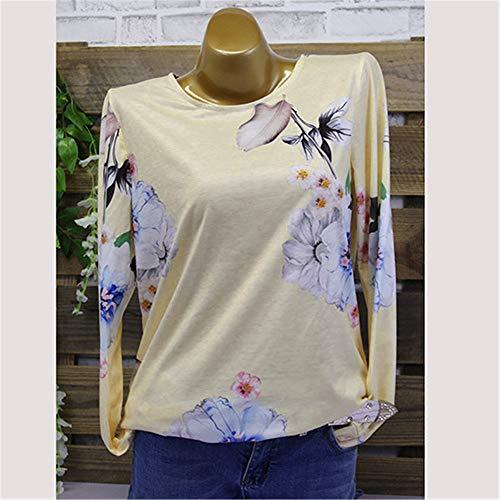 Grande Casual Shirt Weant Blouse Imprim Tee Col Femme Femme et Femme Taille U Chemise Tops Manche Blouses Longue Chemisiers Blouse Ray Jaune Shirt gxdd7fan