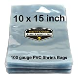 100 pcs Quality 10 x 15 inch PVC Shrink Wrap Bags for Books, Soaps, Bath Bombs, Bottles, Crafts & DIY Products by Mighty Gadget (R) - 100 gauge