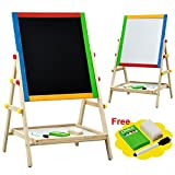 Children Kids 2 In 1 Black / White Wooden Drawing Board Artist Easel With Magnetic Alphebet (1)