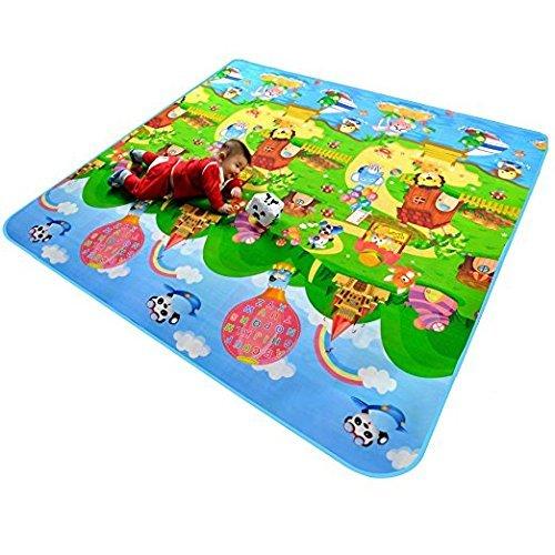 Alfombrilla de juegos para bebé, 2 lados, espuma para actividades infantiles, suave, juguete educativo, regalo de gimnasio, gateo, 120 x 180 cm Fhouses