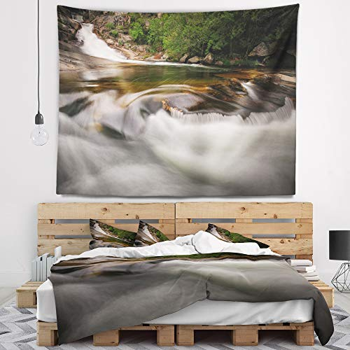Designart TAP9451-60-50 'Segade Waterfall Galicia Spain' Landscape Photo Tapestry Blanket Décor Wall Art for Home and Office, Large: 60'' x 50'', Created on Lightweight Polyester Fabric by Designart