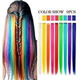 Rainbow Hair Extensions Straight Long Hairpiece Wig Pieces for Kids Colored Hair Extensions Clip in/On for Girls and Dolls Multi-colors Party Highlights 9 PCS