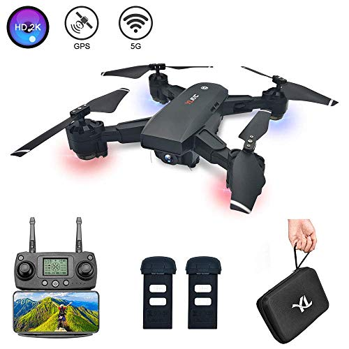 B-Qtech GPS Drone with 2K FHD Camera for Adults 5G Foldable RC Quadcopter with WiFi Real-time Transmission Live Video 120°Wide Angel Camera GPS A Key Return with 2 Batteries and Carrying Case