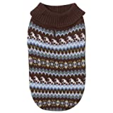 Zack and Zoey Acrylic Fair Isle Knit Dog Sweater, Teacup, Blue, My Pet Supplies