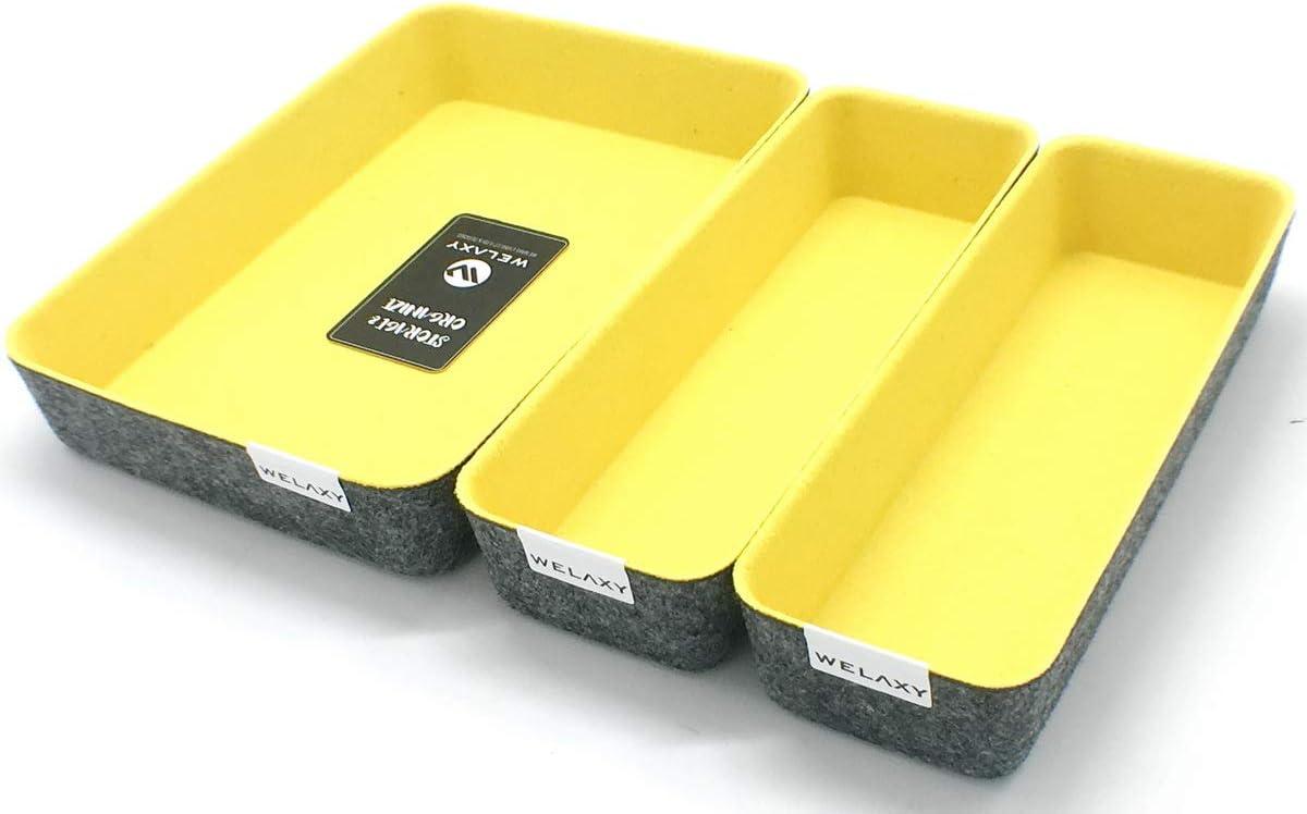 Welaxy Drawer Organizers dividers Storage Bins Office Organizer bin, Pack of 3 (Lemon Yellow, 10.2x3.5x1.8in + 10.6x7.5x1.8in)