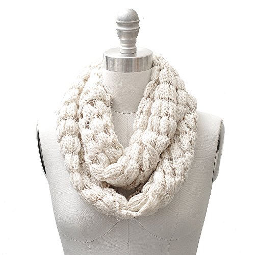Sequin Accent Tied Knitted Infinity Scarf Cream Color (Sequin Accent)