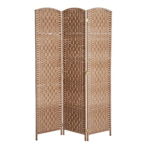 - HOMCOM 6' Tall Wicker Weave 3 Panel Room Divider Privacy Screen - Natural Blonde Wood