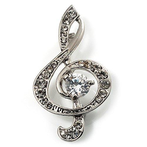 (Avalaya Silver Tone Crystal Music Treble Clef Brooch (Clear))