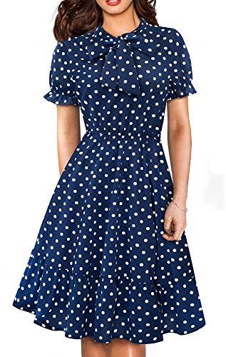 Polka Dot Bow Dress - HOMEYEE Women's Vintage Bow Casual Polka Dot Aline Swing Dress A130 (12, Dark Blue-Short Sleeve)