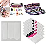 30X Mixed Color Rolls Stripe Tape Line Sticker DIY+5x French Nail Guide Stencil
