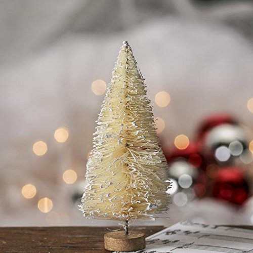 Christmas Tablescape Décor - Miniature winter white frost covered sisal bottle brush trees on wood bases - Package of 6