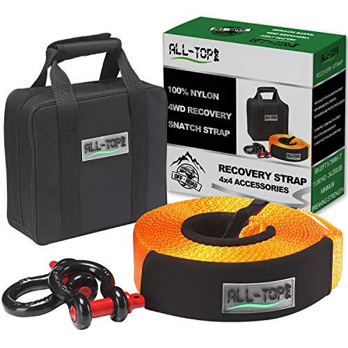 (ALL-TOP Heavy Duty Tow Strap Recovery Kit : 3 inch x 20 ft (32.000 lbs) 100% Nylon and 22% Elongation Snatch Strap + 3/4 Heavy Duty D Ring Shackles (2pcs) + Storage Bag)