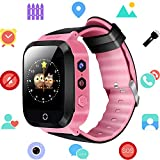 Kids Smartwatch - GPS/LBS Position Tracker Child SOS Help Wrist Watches Digital Camera Mobile Cell Phone Watch Best Gift Children for Girls Boys (GM9-Pink)