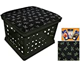 Black Utility Crate Storage Container Ottoman Bench Stool for Office/Home/School/Preschools with Your Choice of Seat Cushion Theme! (Glow-in-the-Dark Cats)