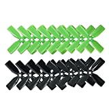 RAYCorp 3030 4-blades 3x3x4 Propellers. 16 Pieces(8 CW, 8 CCW) Black Green Genuine & 3-inch Quadcopter and Multirotor Props + Battery Strap by RAYCorp