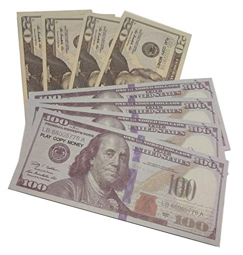 Xubao Play Money Real Looking Prop Money - 220pcs $100(120pcs)+$20(100pcs)  Dollar Bills Motion Picture Money Realistic Money for Movie