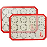 """Non Stick Silicone Baking Mat Quarter Sheet Macaron - 8.2""""x11.6"""",Set of 2 Toaster Oven Liners For Pizza/Cookie and Bread Making, Red,By Super Kitchen"""
