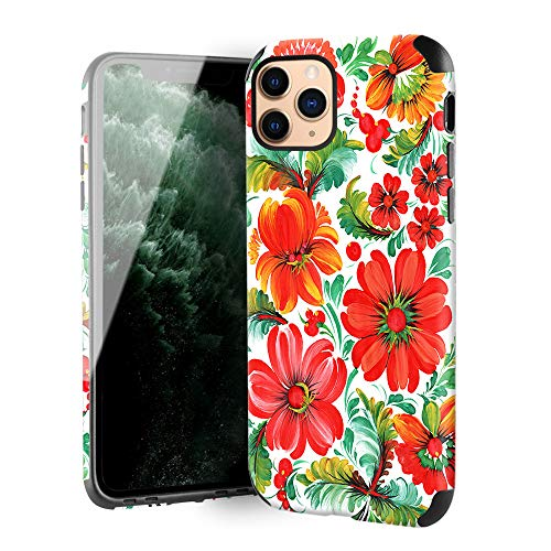 CUSTYPE Case for iPhone 11 Pro Max Case, iPhone 11 Pro Max Case Floral Red Flower Design Girls Women Leather Bumper Soft TPU Shockproof Protective Cover for iPhone 11 Pro Max 6.5''