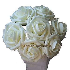 50 pcs Artificial Flowers Foam Roses for Bridal Bouquet Bouquets Wedding Centerpieces Kissing Balls (Ivory)