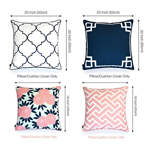 Hofdeco Decorative Throw Pillow Cover Indoor Outdoor Water Resistant Canvas Spring Navy Pink Greek Key Quatrefoil Maze Chinoiserie Floral 18 x18 20 x20 Set of 4