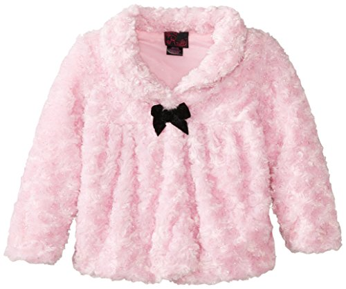 Girls Rule Little Girls' Faux Curly Fur Jacket with Lurex, Light Pink, 3T