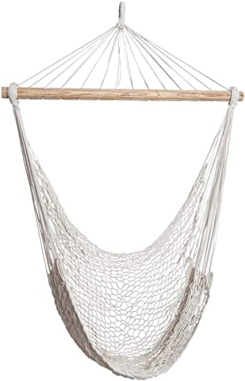 ALL NAHLO The Enedina Hammock Hanging Cotton Rope Bedrooms Swing Chair Seat 1 Unit – Straight Wood Comfortable Bed Durable Large Yard Bedroom Porch Indoor Garden Lightweight Hammocks Person Tree Stand