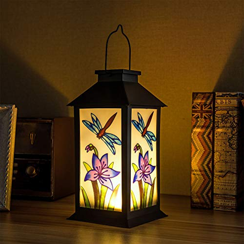 Solar Lanterns Outdoor Hanging Decorative Solar Lights for Garden Patio Courtyard and Tabletop,Large Solar Lantern 8x11 inch. with Dragonfly Pattern.
