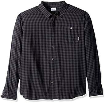 Columbia Men's Cornell Woods Flannel Long Sleeve Shirt, Black Gingham, Small