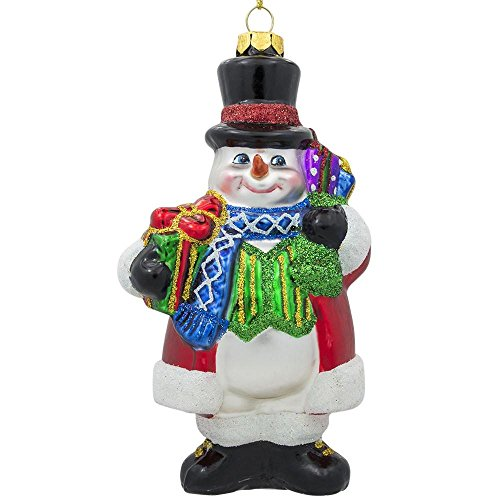 (BestPysanky Snowman in a Black Hat Glass Christmas Ornament 5.5 Inches)