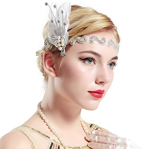 BABEYOND 1920s Flapper Headband Roaring 20s Headpiece Gatsby Ostrich Feather Headpiece with Crystal (Style-5)