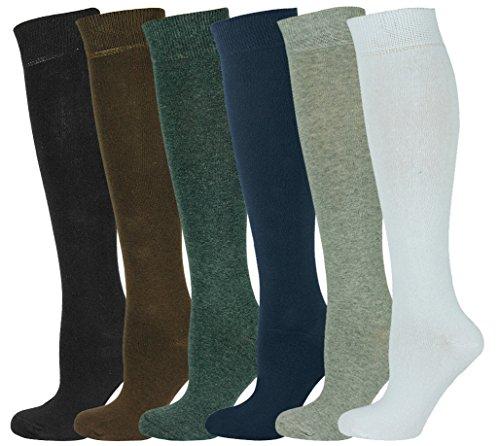 Mysocks Unisex Knee High Long Socks Plain 6 Pairs -